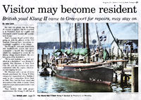 Visitor may become resident: British yawl Klang II came to Greenport for repairs, may stay on